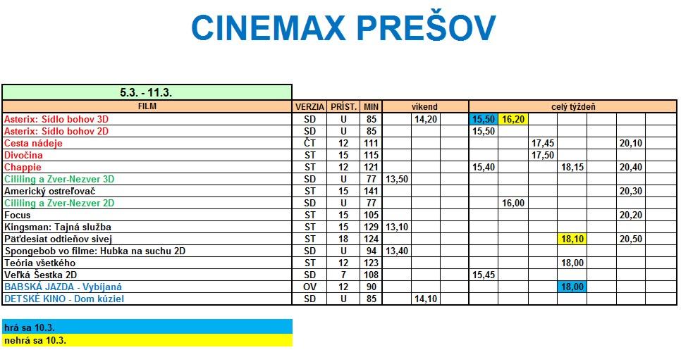 59aa4f5db Program kina CINEMAX Prešov 5.3 - 11.3.2015
