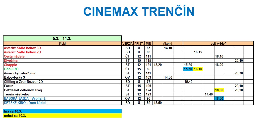 431ebe3b8 Program kina CINEMAX Trenčín 5.3 - 11.3.2015